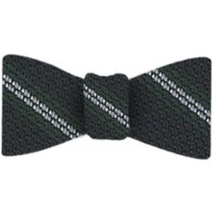 Forest Green & White Stripes On Midnight Blue Grenadine Bow Tie #2