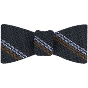 Powder Blue & Brown Stripes On Midnight Blue Grenadine Bow Tie #3