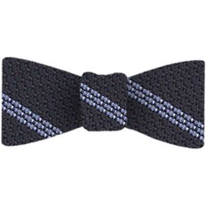 Powder Blue Stripe On Midnight Blue Grenadine Bow Tie #4