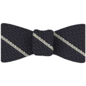 Off White Stripe On Midnight Blue Grenadine Bow Tie #5