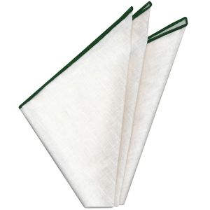 White Linen With Green Contrast Edges Pocket Square