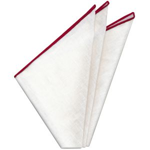 White Linen With Red Contrast Edges Pocket Square