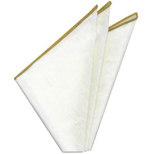 White Linen With Yellow Contrast Edges Pocket Square