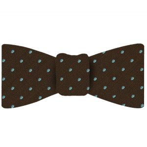 Sky Blue Dots on Alpaca Brown Pin-Dot Silk Bow Tie #EPDBT-10