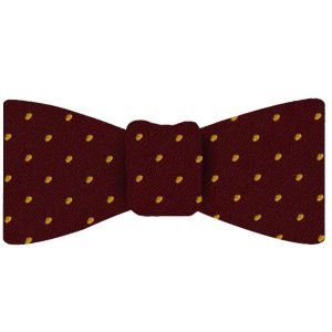 Yellow/Gold Dots on Maroon Pin-Dot Silk Bow Tie #EPDBT-12