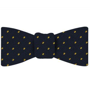 Yellow/Gold Dots on Dark Navy Pin-Dot Silk Bow Tie #EPDBT-3
