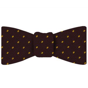 Yellow/Gold Dots on Burgundy Pin-Dot Silk Bow Tie #EPDBT-8