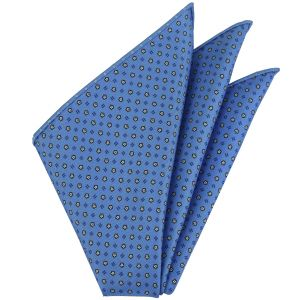 White, Blue & Black on Powder Blue Macclesfield Printed Silk Pocket Square #MCP-110