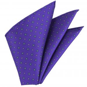 Sky Blue & White on Purple Macclesfield Printed Silk Pocket Square #MCP-116