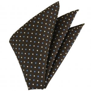 Sky Blue & White on Dark Chocolate Macclesfield Silk Pocket Square #MCP-134