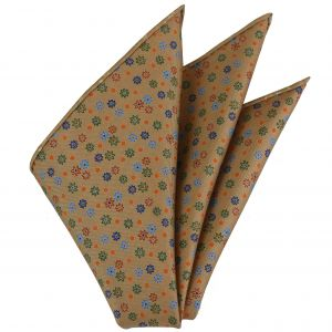 Blue, Red, Orange & Green on Tan Macclesfield Printed Silk Pocket Square #MCP-137