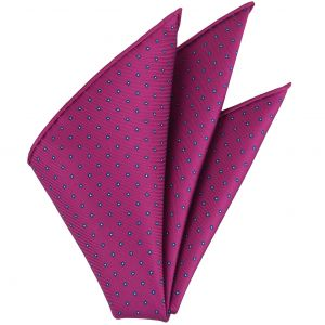 Blue & White on Fuchsia Macclesfield Printed Silk Pocket Square #MCP-148
