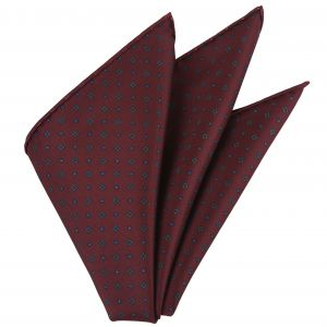 Blue & Sky Blue on Dark Red Macclesfield Printed Silk Pocket Square #MCP-153