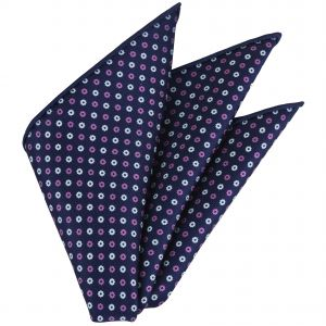 White & Pink on Navy Blue Macclesfield Printed Silk Pocket Square #MCP-155
