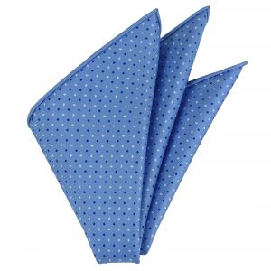 Blue & White on Sky Blue Macclesfield Printed Silk Pocket Square #MCP-157
