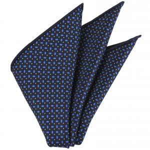 Blue & White on Midnight Blue Macclesfield Printed Silk Pocket Square #MCP-160