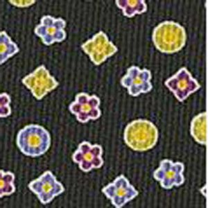Lavender, Purple, White & Gold with a touch of Green on Midnight Blue Macclesfield Printed Silk Tie #MCT-96