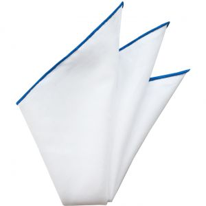 Natural White Linen/Cotton With Navy Blue Contrast Edges Pocket Square #LCCP-1