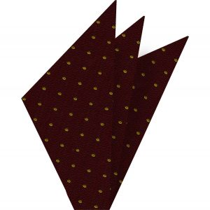 Yellow/Gold Dots on Maroon Pin-Dot Silk Pocket Square #EPDP-12