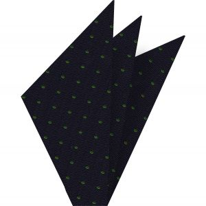 Celtic Green Dots on Midnight Blue Pin-Dot Silk Pocket Square #EPDP-13