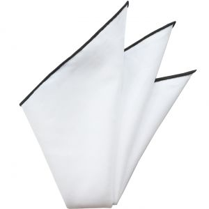 Natural White Linen/Cotton With Black Contrast Edges Pocket Square #LCCP-2