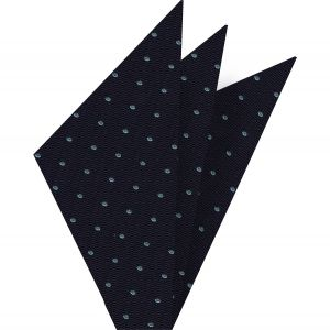 Sky Blue Dots on Dark Navy Pin-Dot Silk Pocket Square #EPDPT-2