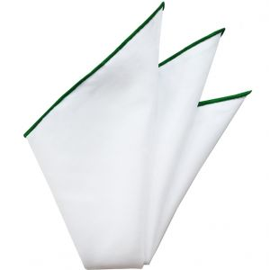 Natural White Linen/Cotton With Green Contrast Edges Pocket Square #LCCP-3