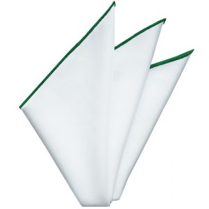 Bright White Oxford Cotton With Green Contrast Edges Pocket Square #RCP-3