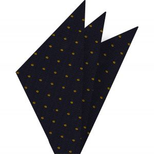 Yellow/Gold Dots on Dark Navy Pin-Dot Silk Pocket Square #EPDP-3