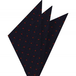 Red Dots on Dark Navy Pin-Dot Silk Pocket Square #EPDP-4