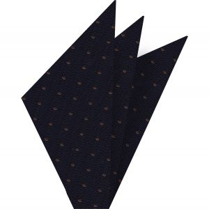 Dark Brown Dots on Dark Navy Pin-Dot Silk Pocket Square #EPDP-5