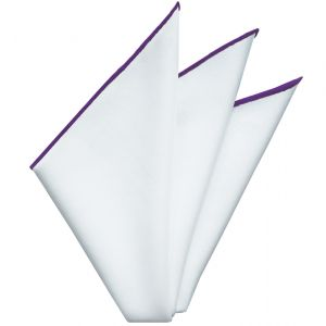 Bright White Oxford Cotton With Purple Contrast Edges Pocket Square #RCP-5