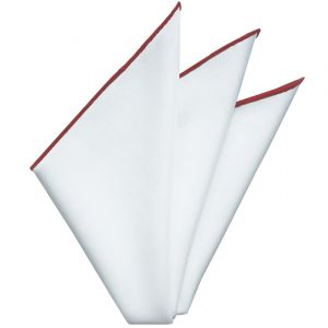 Bright White Oxford Cotton With Red Contrast Edges Pocket Square #RCP-6