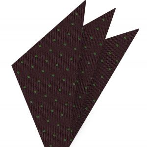 Green Dots On Burgundy Pin-Dot Silk Pocket Square #EPDP-7