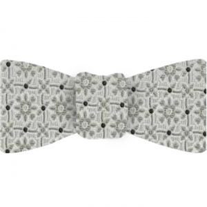 Formal/Wedding Silk Bow Tie #EWDT-3 - Dark Charcoal Gray, Silver Gray & Silver