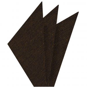 Black & Camel Herringbone Wool Pocket Square #GHWP-1