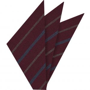 Ocean Blue & Brown Stripes on Dark Red Wool Pocket Square #GSWP-1
