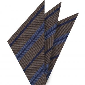 Light Lavender & Navy Blue Stripes on Camel Wool Pocket Square #GSWP-10