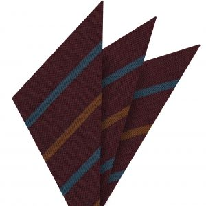 Ocean Blue & Rust Stripes on Dark Red Wool Pocket Square #GSWP-2