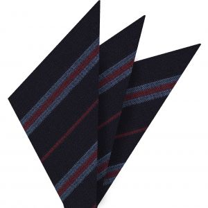 Lavender & Red Stripes on Midnight Blue Wool Pocket Square #GSWP-3