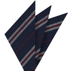 Dark Red & Off White Stripes on Dark Navy Blue Wool Pocket Square #GSWP-4