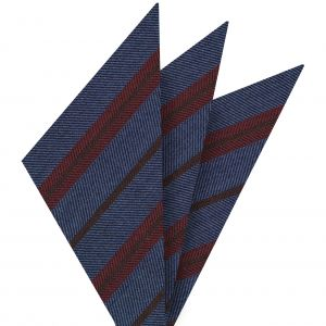 Red & Dark Camel Stripes on Light Lavender Wool Pocket Square #GSWP-5