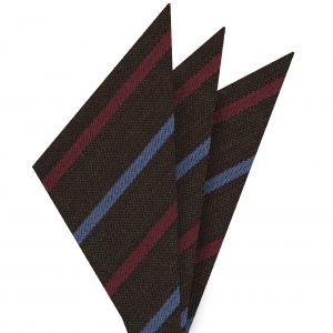 Light Lavender & Red Stripes on Dark Camel Wool Pocket Square #GSWP-6