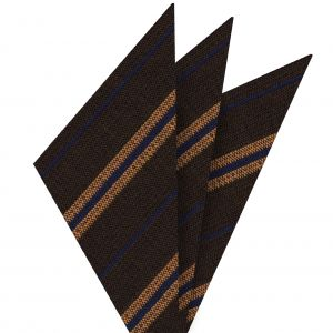 Orange & Navy Blue Stripes on Dark Camel Wool Pocket Square #GSWP-7