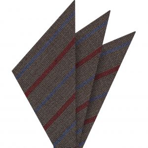 Red & Light Lavender Stripes on Camel Wool Pocket Square #GSWP-8