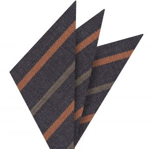 Rust & Camel Stripes on Dark Charcoal Gray Wool Pocket Square #GSWP-9