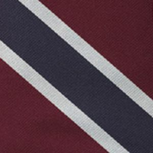 Burgundy, Navy Blue & White Reppe Stripe Silk Pocket Square #RSP-1