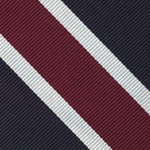 Navy Blue, Burgundy & White Reppe Stripe Silk Pocket Square #RSP-3