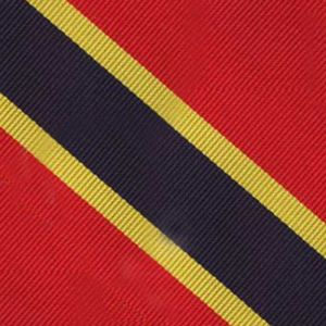 Navy Blue & Yellow Gold on Red Trad Special Stripe Silk Pocket Square #RSP-4