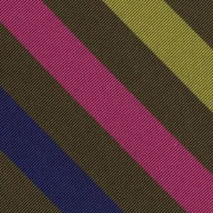 Yellow Gold, Lavender, Young Leaf  Green, Fuchsia & Orange on Olive Green Reppe Stripe Silk Pocket Square #RSP-5
